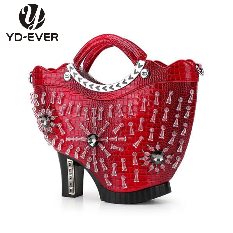 Detail Feedback Questions About New Personality High Heeled Shoes Shape Bag Fashion Leather Handbag Cool Crocodile Messenger Diamond Shoulder On
