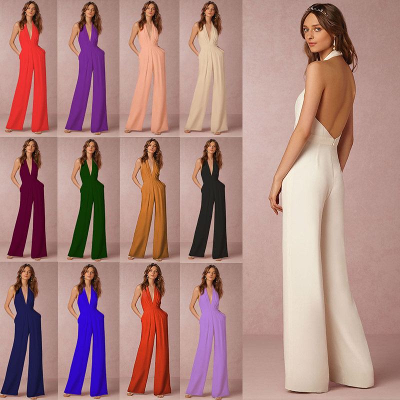 Summer Trousers Women's Casual Jumpsuit Sexy Sleeveless Hanging Neck Women's One-Piece Pants Wide Leg Pants Plus Size Trousers