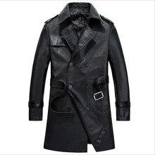Männer Pu Mantel Herbst Kunstleder Vintage Jacken Und Mantel Lange mit Gürtel Mode Männer Pu Jacken Für Herbst Herren Mantel Wt1033