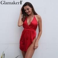 Glamaker Halter Sexy Split Satin Sun Dress Women Backless Deep V Neck Mini Dress Summer Elegant