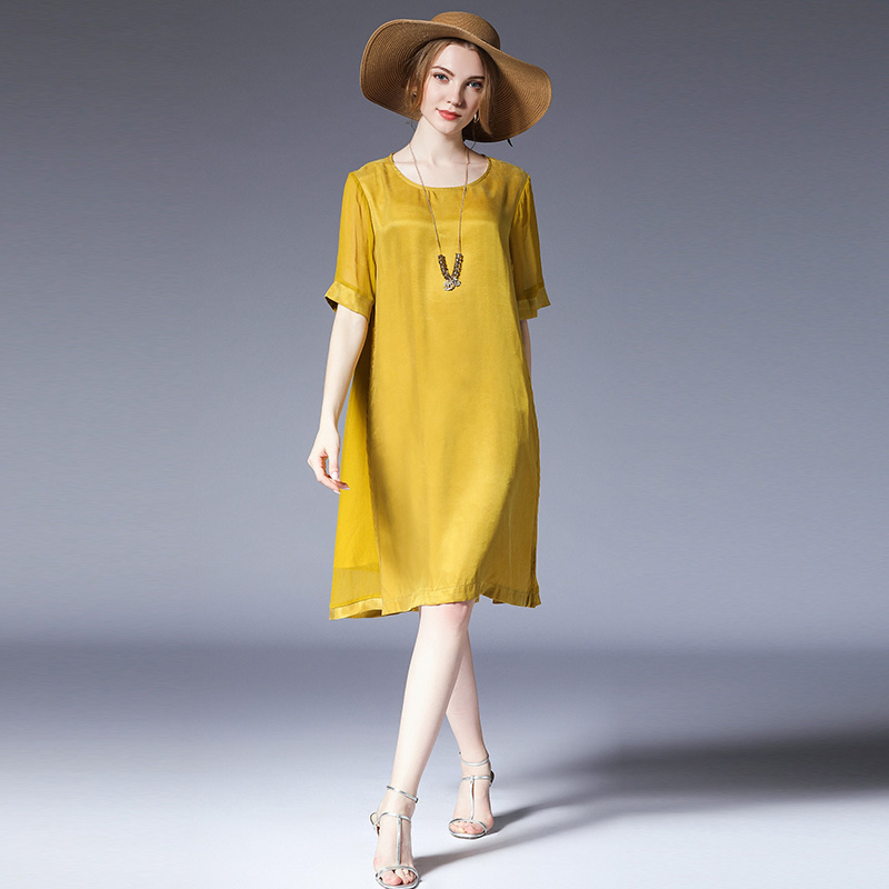 US $34.34 20% OFF|Plus size dresses women casual loose fashion Elegant  dress light mature woman High waist short sleeve office lady dress-in  Dresses ...