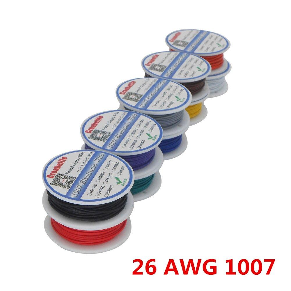 10 м/лот UL 1007 26AWG 10 видов цветов электрический провод ПВХ кабель Линия Луженая Медь PCB Провод RoHS UL сертификация изолированный светодиодный каб...