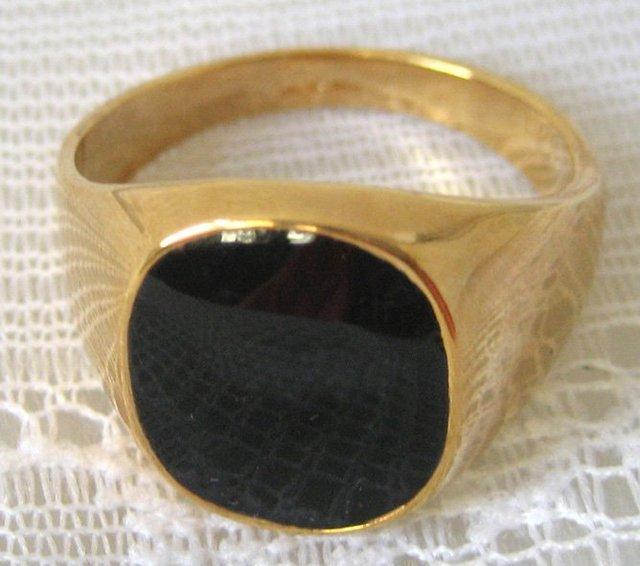 Men s Ring Size 8 11 Free shipping Black yx 18K GP Yellow Gold