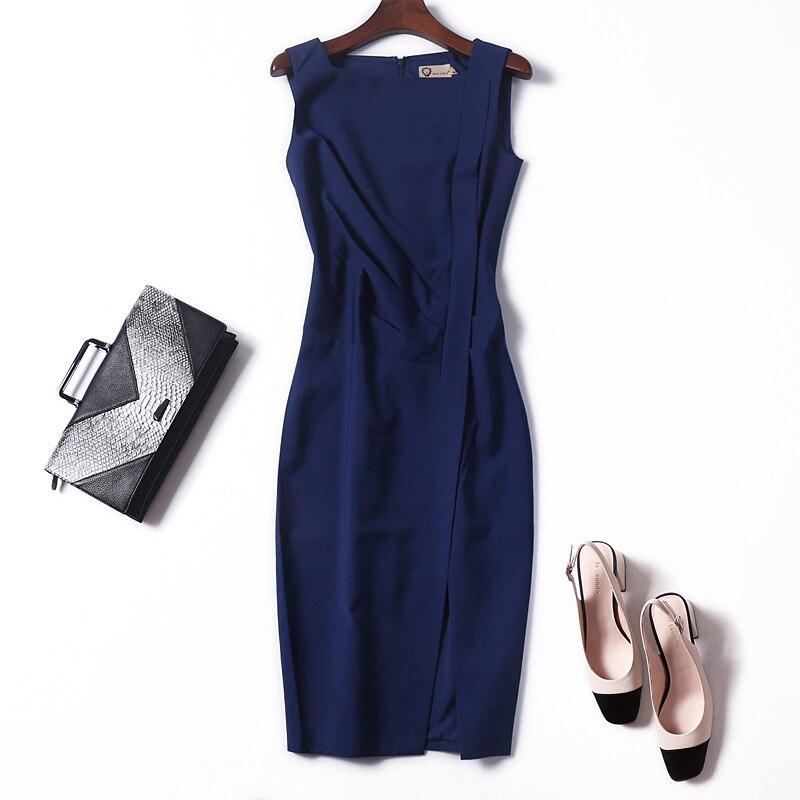 Femmes mode élégante brève robe sans manches taille froncé sexy crayon robes nouveau 2018 bureau dame grande taille XXL marine