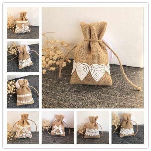 25 шт./лот/, разные стильные кружевные сумки, мешковина, мешковина, деревенская подарочная упаковка для свадьбы/рождества, мешковина для подарка