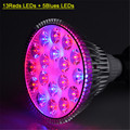 Hydroponics full Spectrum LED Grow Light 85-265V E27 45W Fitolampa LED Lamp Bulb for Plants 13 Red and 5 Blue LED Ribbon