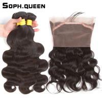Soph Queen Brazilian Body Wave Bundles With Closure 360 Lace Frontal Human Hair With Frontal Natural