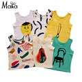 Baby Boy Tank Cartoon Chair Brush Print Summer Kids Boys Sleeveless Top Playful Cozy T shirts