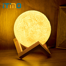 hot deal buy itimo night light 3d print light home decors rechargeable moon lamp creative gift touch control indoor lighting white/warm white