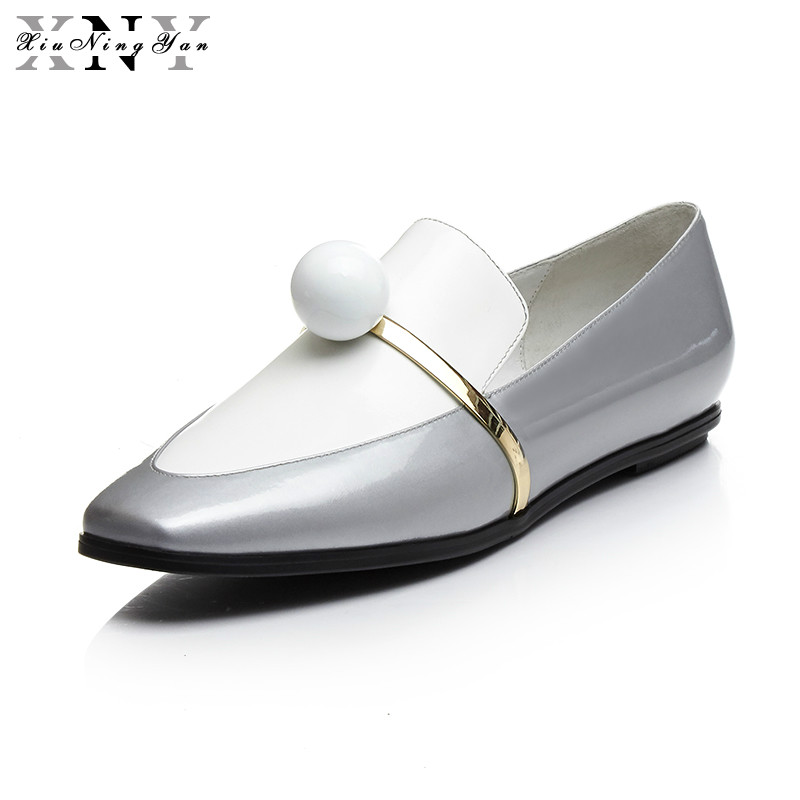 XiuNingYan Woman Genuine Leather Shoes Woman Flat Loafers 2017 Autumn Square Toe Slip on Top Pearl Women Shoes Casual Creepers qmn women genuine leather flats women horsehair loafers retro square toe slip on flat platform shoes woman creepers 34 42
