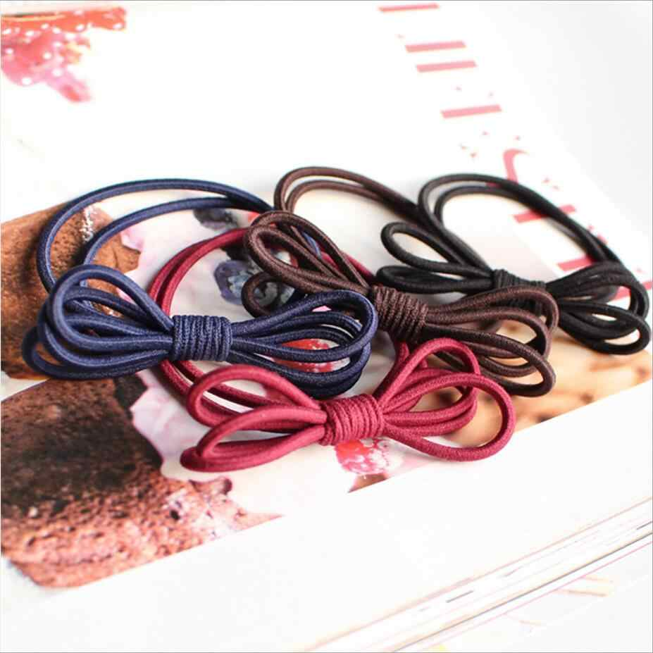 5 Candy Colors Solid Ribbon Bow Rubber Bands Scrunchie Hollow Cute Fashion Women Hair Accessories Simple Joker Girl Elastic Hair