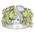 Manchurian Peridot And Aquamarine 3.28ctw With .17ctw White Topaz Sterling Silver Ring