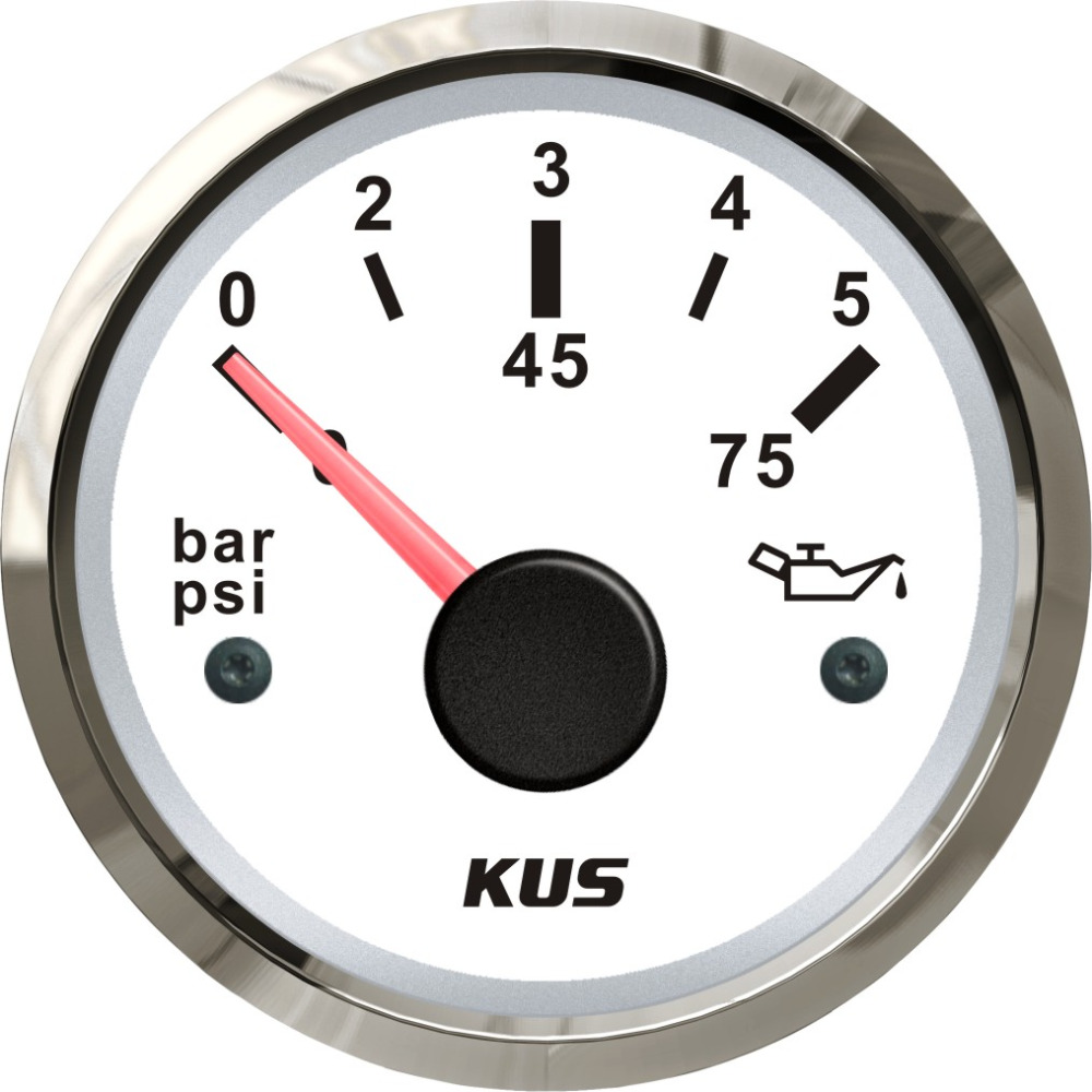 KUS 52mm Oil Pressure Gauge Meter 0 5Bar 0 75PSI For Marine Auto With Red and