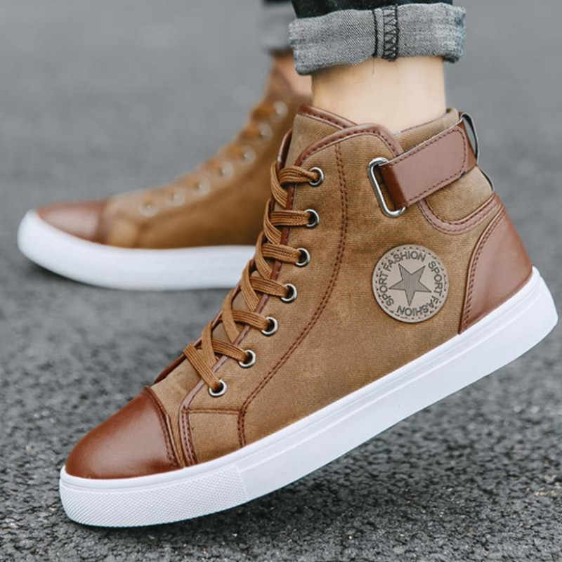 45fafe2e99d12 Men Sneaker High Tube Winter Shoes Men Sneakers Breathable Lace Up Outdoor  Shoes Men's Boots Footwear