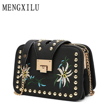 2017 New Fashion Embroidery Women Messenger Bag Ladies Leather Crossbody Bags High Quality Chains Women Handbags Rivet Sac Main