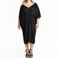 Promozione Extra Big Size Qualità Lanon Lady Dress Donne Manica a Pipistrello Con Scollo A V Abiti a Metà Polpaccio Moda Casual Vestito Nero XXXL