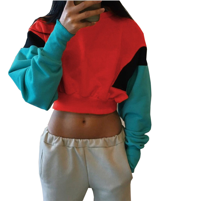 3 Color 4 Sizes Patchwork Yellow Sexy Crop Top Hoodies Sweatshirts New 2019 Arrival Tracksuits Women