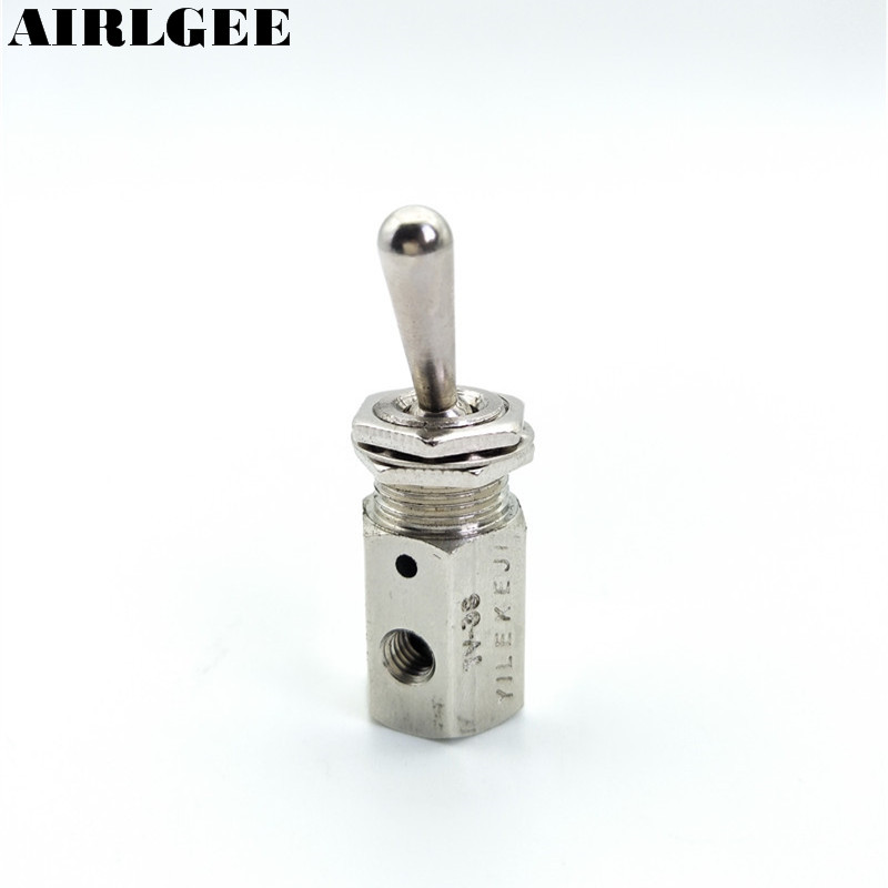TV-3S Pneumatic Toggle valve 5mm Thread 2 Position 3 Way Mechanical Air Pneumatic Valve kkp 15 g 1 2 thread air operating one way silver tone quick exhaust valve