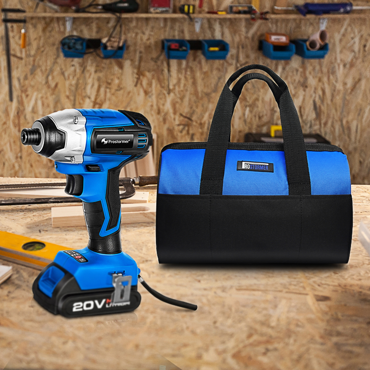 Image 5 - PROSTORMER 20V Electric Screwdriver Brushless Cordless Screwdriver Impact Drill 300NM Tool Bag Variable Speed Rechargeable Drill-in Electric Screwdrivers from Tools on