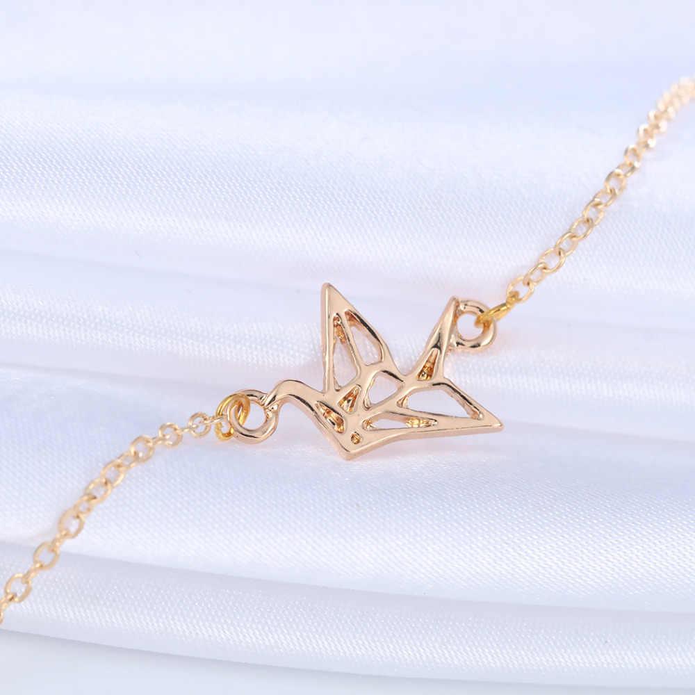 Cxwind mujer Origami grúa pulseras y brazaletes moda Pájaro encanto pulsera geométrica Animal pulsera joyería
