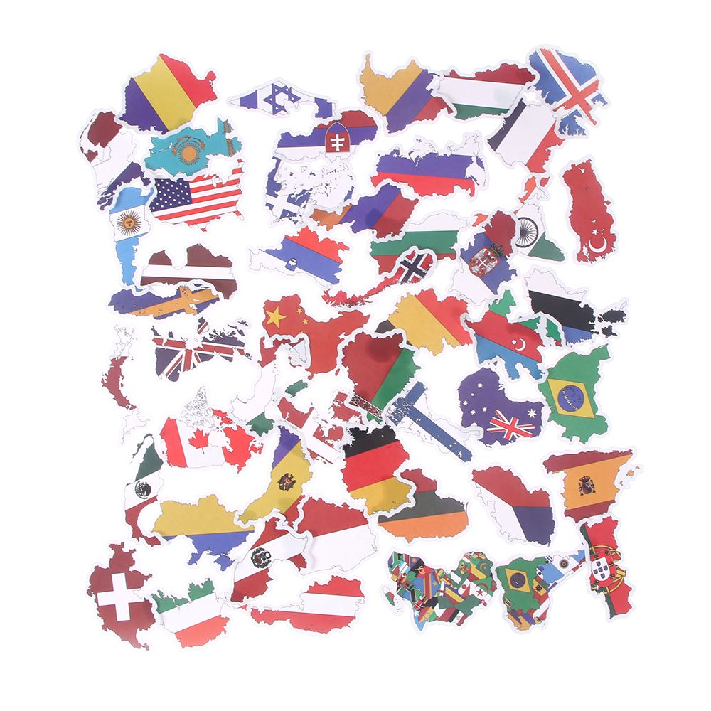 50 PCS National Flags Stickers Toys for Children Countries Map Travel Sticker to DIY Scrapbooking Suitcase Laptop Car Motorcycle(China)