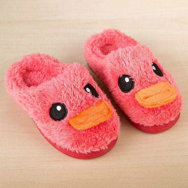 [Sashine]Winter Children Slipers Girls Boys  Home Warm Shoes Cotton Shoes Cute Duck Slippers Coffee Green Yellow SAS-9013