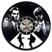 LED Wall Clock Modern Design Living Room Decoration 7 Different Color Change Vinyl Clocks Wall Watch Home Decor Silent