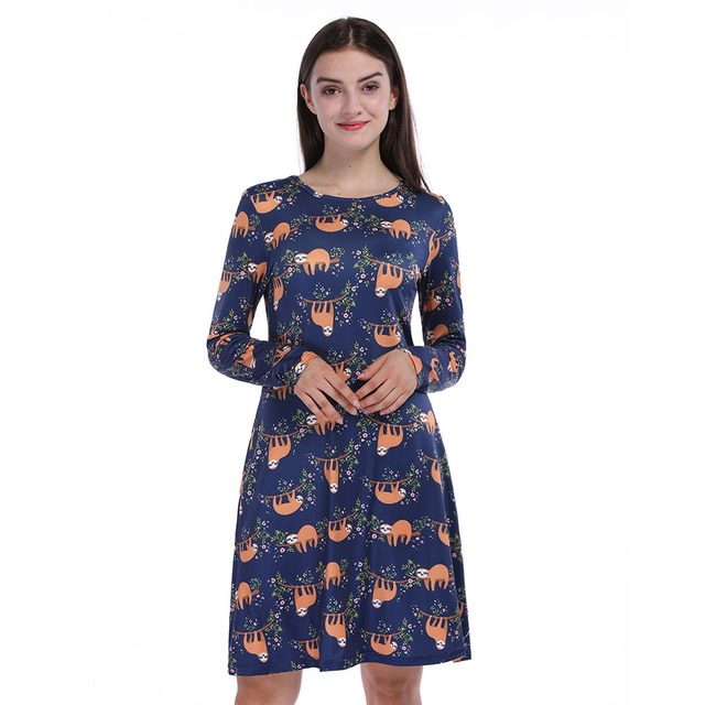 Fashion Animal Sloth Print O-Neck Long Sleeves Knee-Length Dress Casual Loose  Autumn Womens Clothing 5b9a8ce25bf1