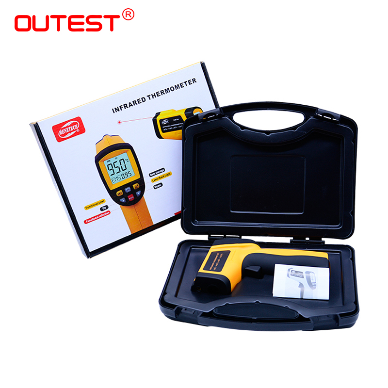 OUTEST non contact digital laser infrared thermometer Gun Thermometer 0.1~1.00 adjustable GM900 -50~950C(-58~1742F) with box цена