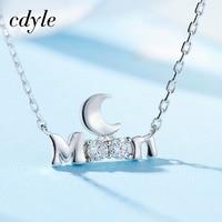 Cdyle Women Pendant Necklace Fashion S925 Sterling Silver Jewelry Australian Rhinestone Paved Wedding Bridal Jewelry Women