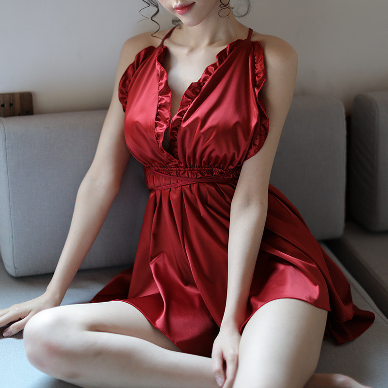 Porn Teddy Baby Doll Sexy Lingerie Hot Black/White/Red Backless Satin Nightgown Sleepwear Women Intimates Deep V Sex Costumes