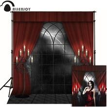Allenjoy Photophone Foto Halloween Hintergrund Kerze Haunted House Red Vorhang Foto Kulissen Für Verkauf Fotografie