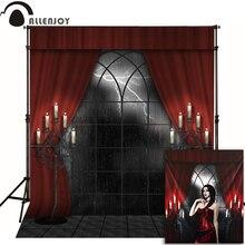 Allenjoy Photophone Fotografische Halloween Achtergrond Kaars Spookhuis Rode Gordijn Foto Achtergronden Voor Koop Fotografie