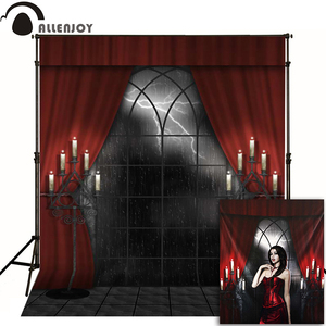 Allenjoy photophone photographic Halloween background candle haunted house Red curtain photo backdrops for sale photography