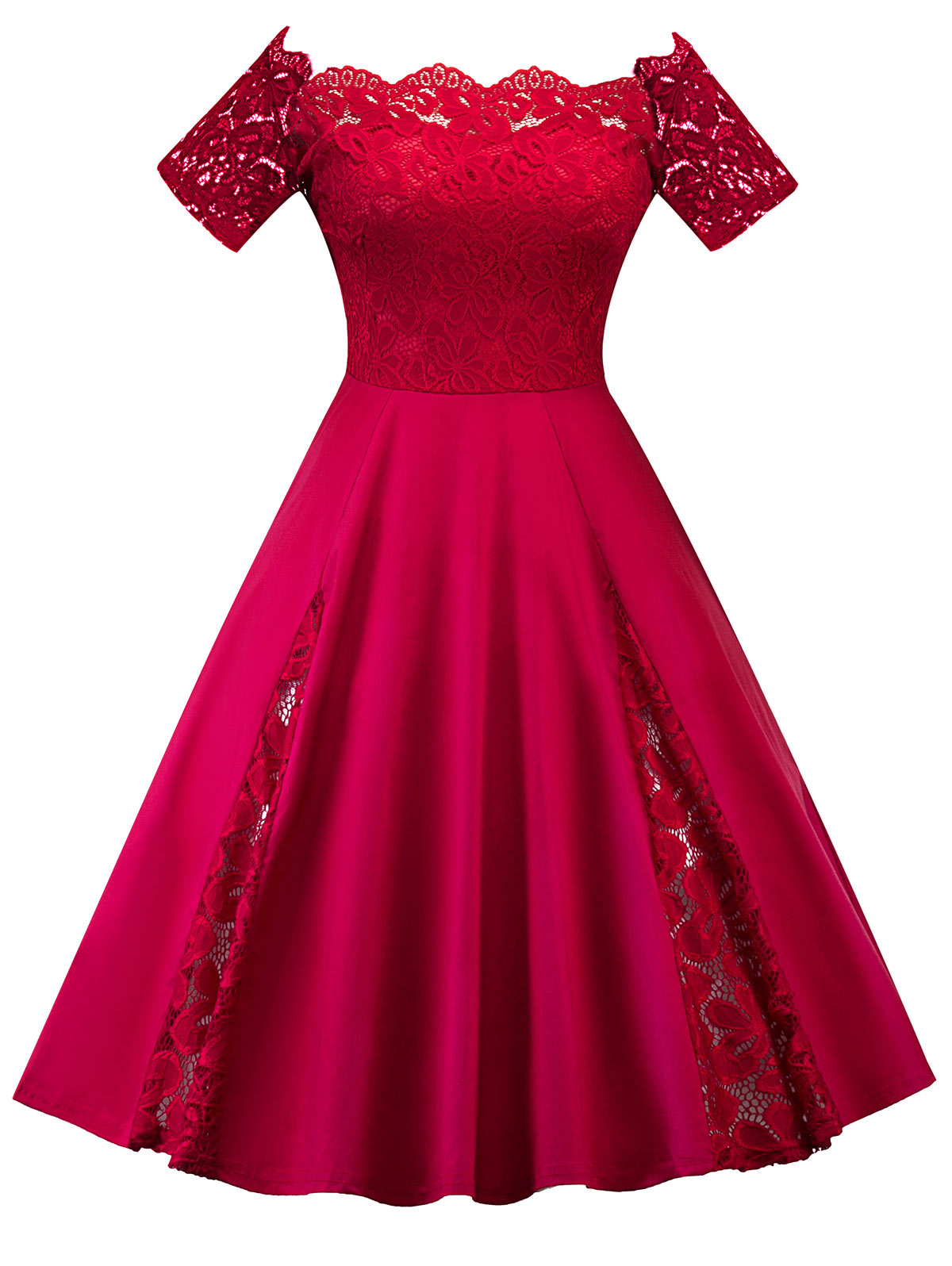 4042375781 Wipalo Women Vintage Flare Party Dress Plus Size 5XL Lace Panel Off The  Shoulder Dress Robes 2018 Retro Ladies Dresses Vestidos