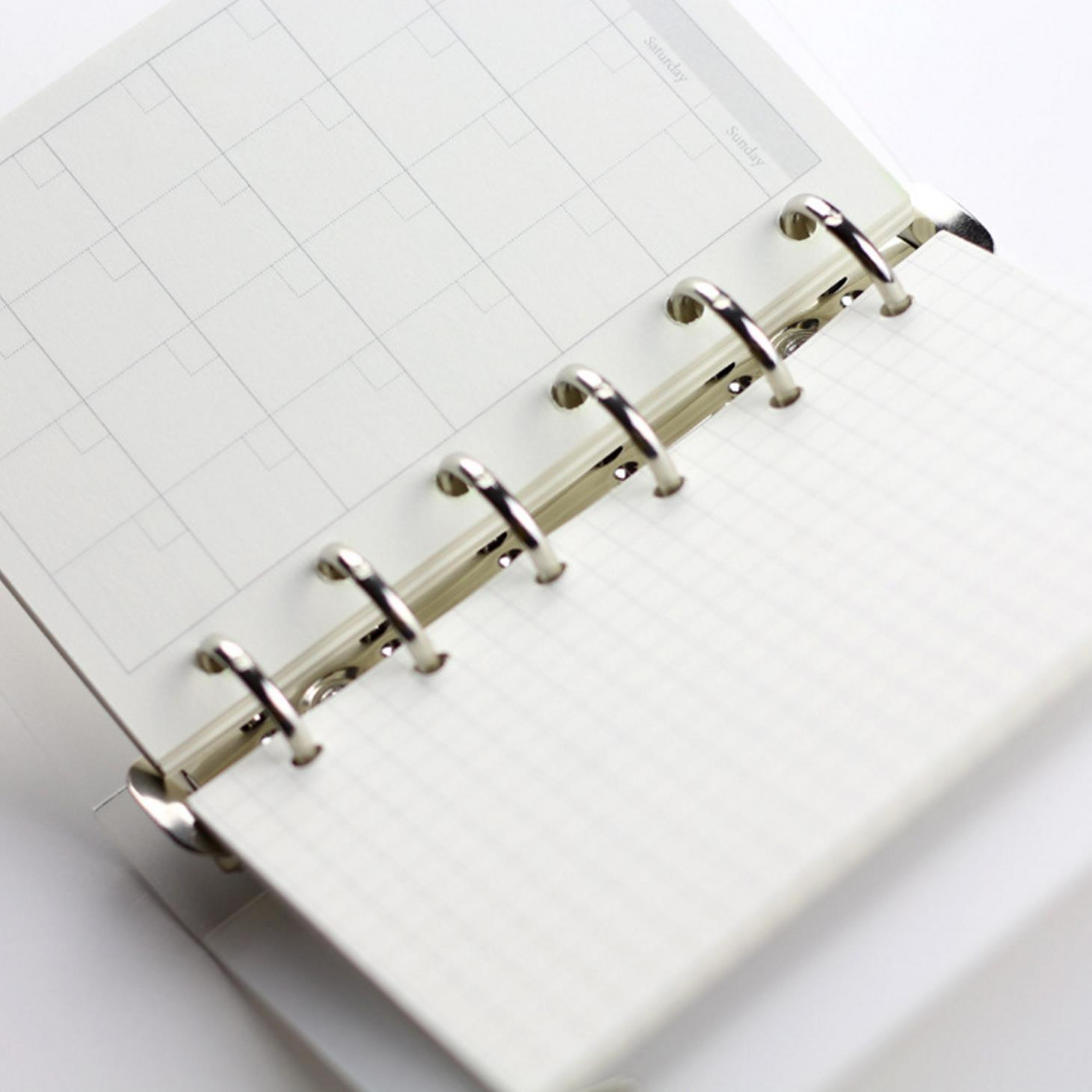 A5 A6 A7 Loose Leaf Notebook Refill Spiral Binder Planner Inner Page Inside Paper Dairy Weekly Monthly Plan To do Line Dot grid 6