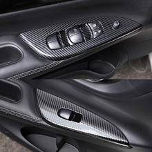 For NISSAN TIIDA 2016 2017 ABS Carbon Fibre LHD Interior Armrest Window Panel Lifter glass Switch Button Cover trim Car styling Accessories 4pcs цены