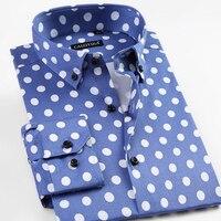 Gençlik Rahat erkek Uzun Kollu Polka Dot Desen Elbise Gömlek rahat Yumuşak Ince-fit Erkek Tüm Yıl Için Düğme-aşağı Gömlek Tops yuvarlak