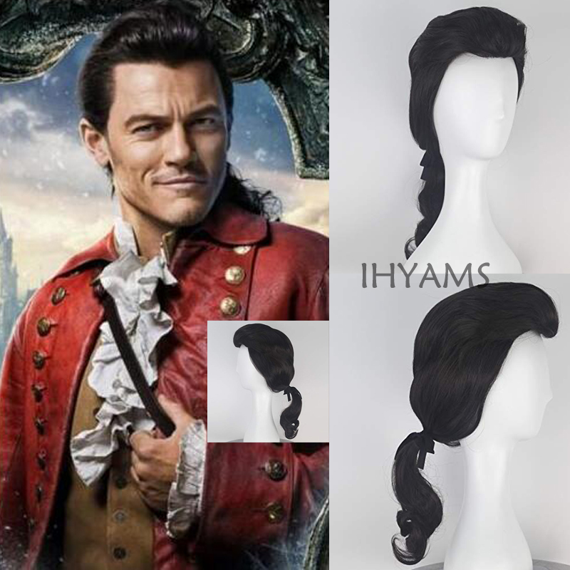 Beauty and the Beast Prince Gaston Wig Black Short Curly Wig Cosplay Halloween Role Play Synthetic Hair + Wig Cap