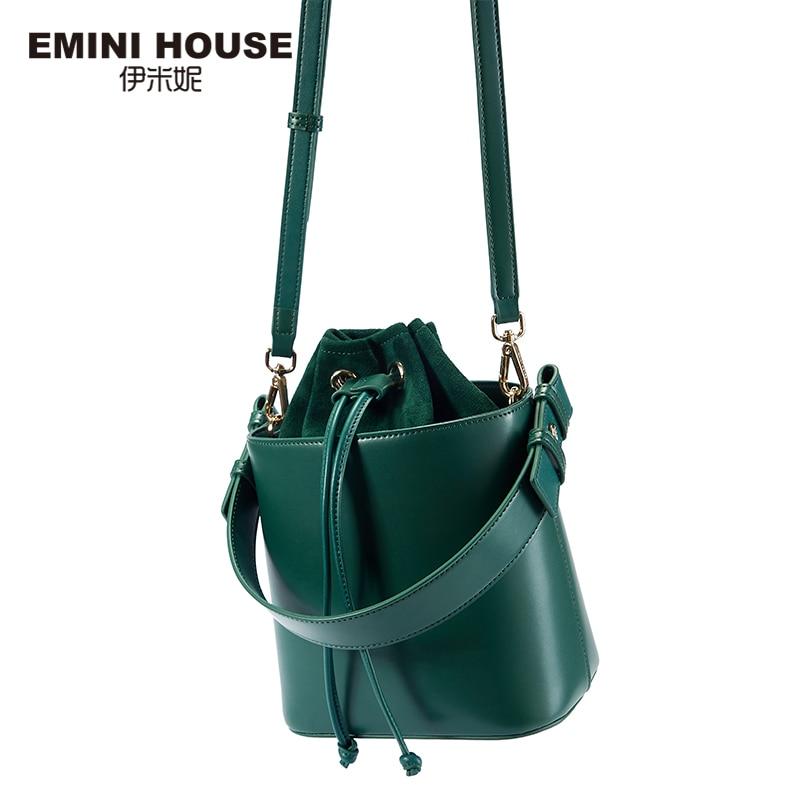 EMINI HOUSE String Closure Bucket Bag Crossbody Bags For Women Luxury Handbags Women Bags Designer Shoulder Bag 4 Colors on Sale-in Shoulder Bags from Luggage & Bags    3