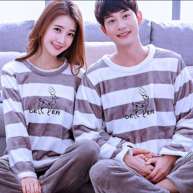 cce5593108 Deer Christmas Couple Pajama Sets Winter O-Neck Coral Fleece Warm Sleepwear  Couples Matching Pyjamas Women Men Home Clothing