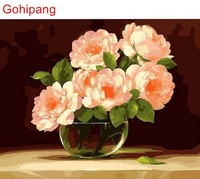 CHENISTORY Transparent Pink Flower DIY Painting By Numbers Abstract Modern Art Painting On Canvas Home Decor