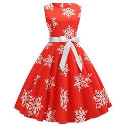 Enyuever w stylu Vintage Sukienka boże narodzenie Sukienka zielony Jurk Kerst Snowflake Print Vestidos Navidad Mujer Pin Up, na co dzień, na co dzień, boże narodzenie Sukienka 5