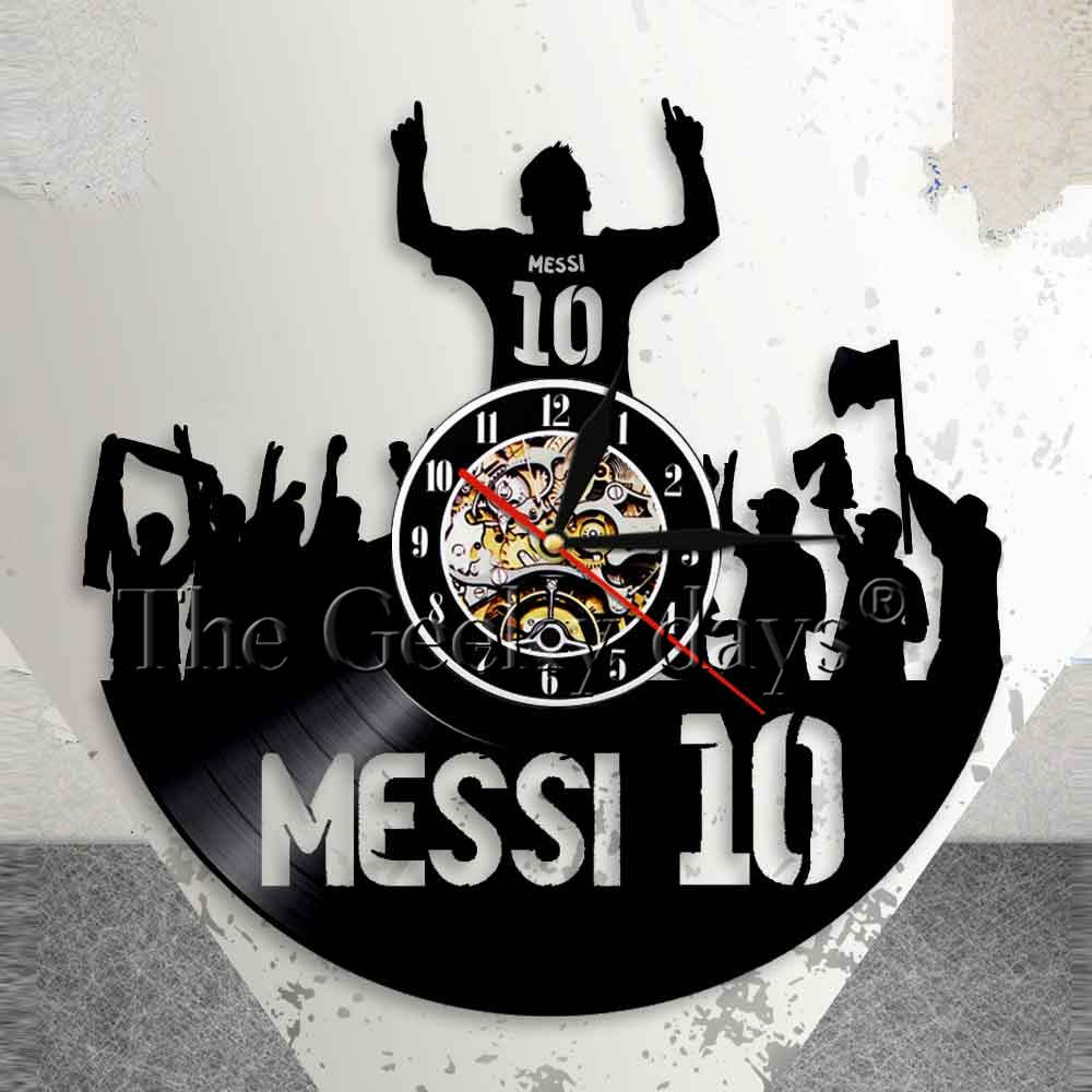 Король 10 Лионель Месси Настенные часы Аргентина Футболист Виниловые часы Непреодолимая сила Футбол Легенда для фанатов Месси Лионель Месси