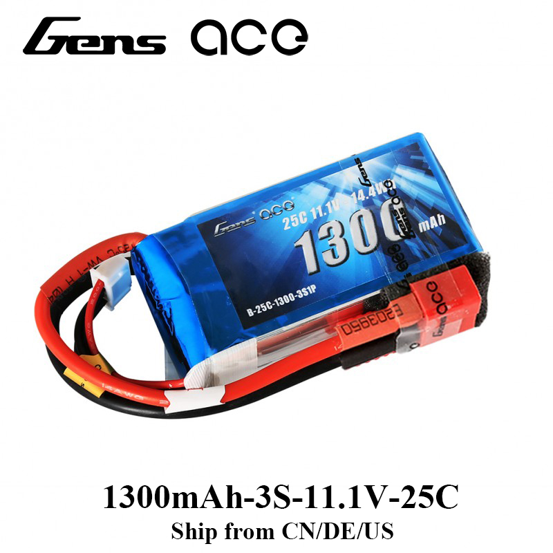Gens ace Lipo Battery 11.1V 1300mAh Lipo 3S 25C RC Battery Pack Deans Plug for RC Helicopter RC Plane Famous Brand High Quality gens ace lipo battery 3s 5200mah lipo 11 1v battery pack 3 5mm banana connector 10c battery fpv hobbies rc models accessories