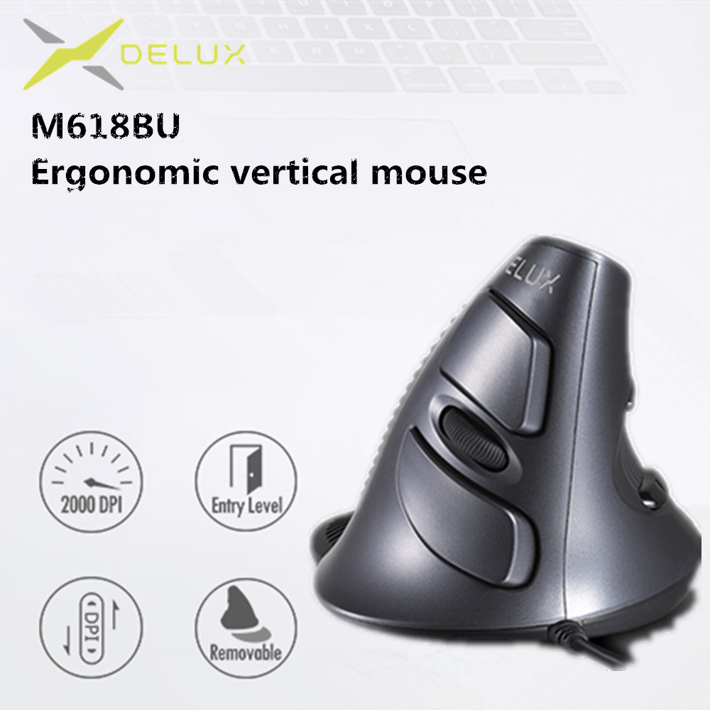 Delux M618 BU Ergonomic Vertical Mouse 6 Buttons 600/1000/1600 DPI Optical Right Hand Mice With Wrist Mat For PC Laptop