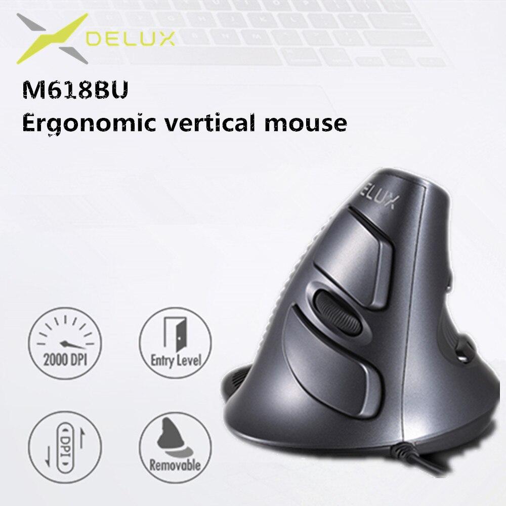 Мышь вертикальная оптическая Delux M618 BU, 6 кнопок, 800/1200/1600 DPI