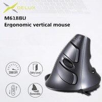 Delux M618 BU Ergonomico Verticale Del Mouse 6 Bottoni 800/1200/1600 DPI Ottico Mano Destra Mouse con Polso tappetino Per Il PC Del Computer Portatile