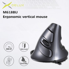Delux M618 BU Ergonomic Vertical Mouse 6 Buttons 800/1200/1600 DPI Optical Right Hand Mice with Wrist mat For PC Laptop