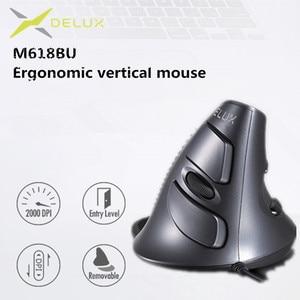 Image 1 - Delux ratón ergonómico Vertical M618 BU, 6 botones, 800/1200/1600 DPI, derecho, óptico, con almohadilla para muñeca para PC y portátil